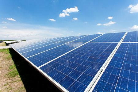 Solar power for electric renewable energy from the sun in green field