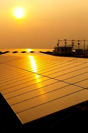 Solar Panel with Sun Stock Photo