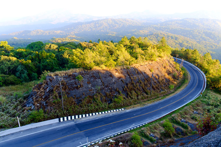curve road: Beautiful Mountain Road with sunlight, Curve road