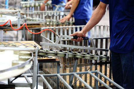 Tuna fish in can processing in factory