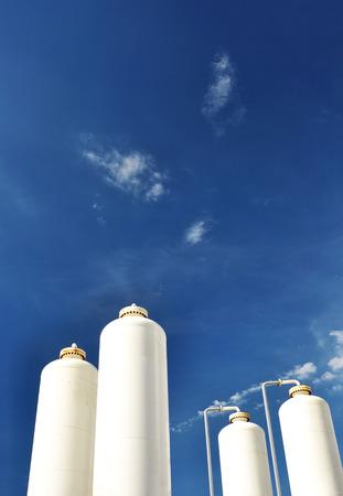 nitrogen: Nitrogen storage tank, Industrial storehouses Stock Photo