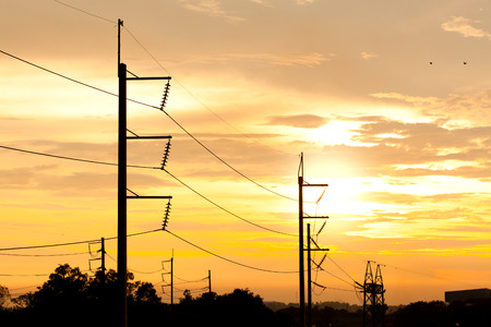 Electric power at sunset