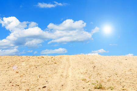 desolate: Stony desolate arid landscape with blue sky, Hot landscape Stock Photo