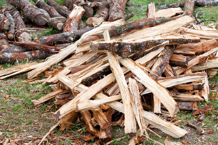 stack of firewood: firewood stack at home Stock Photo