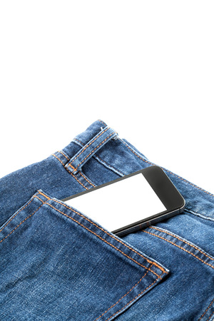 Smart phone in your pocket blue jeans photo