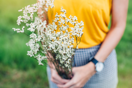 holding: Woman hands holding a flower in green meadow with focus on a flower Stock Photo
