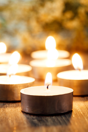 Group of burning candles Spa and relaxing