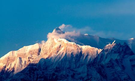 fish tail: View of the himalayan peak Machhapuchhare, the fish tail, Pokhara, Nepal Stock Photo