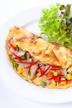 an omelette: Omelette with tuna and vegetables
