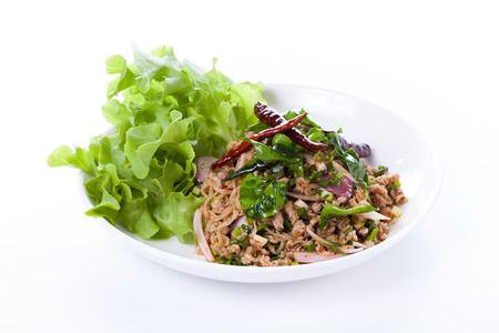 minced: Thai spicy minced pork salad, thai food