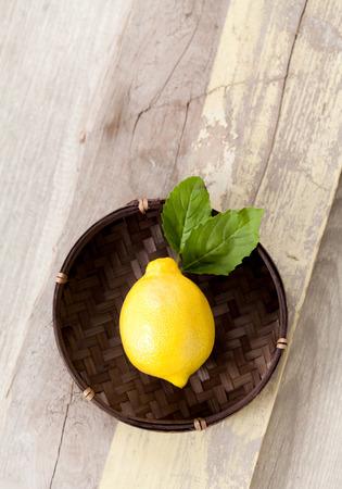 intense flavor: Lemon on old wood table