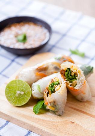 hoisin: Steamed spring roll, Vegetarian food, selective focus