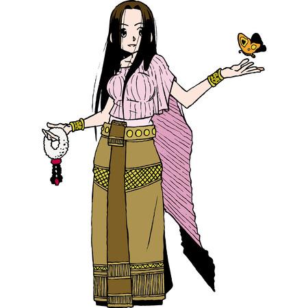 """donna farfalla: carattere Thailandia set 1 """"panno del seno"""" Vettoriali"""