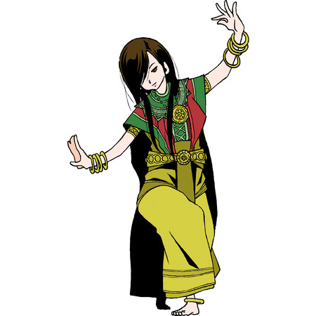 thai dance: Thailand character set 1 ram tai Illustration