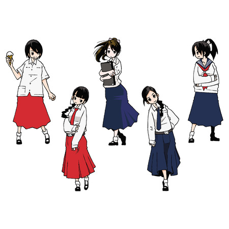 Thailand high school girl Illustration