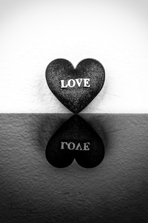 relate: Relate of heart on black and white background.