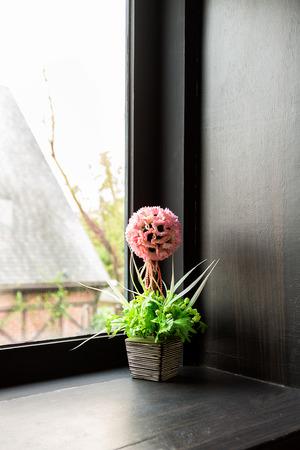Artificial flowers pots photo