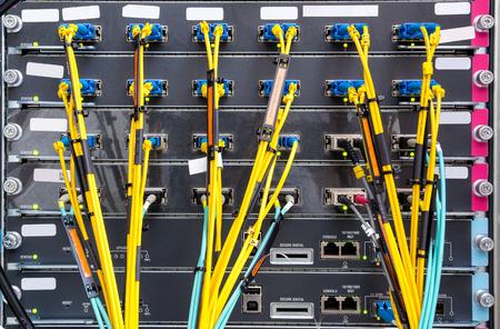 Fiber optic on core network switch photo