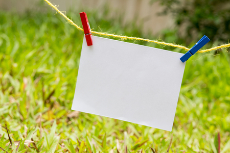 wooden color clothes clip on a straw rope and note paper ,a grass is a background,