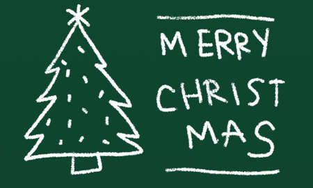 white chalk merry christmas drawingon green board photo