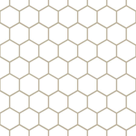 Classic Honeycomb Hexagon Geometric Vector Repeated Seamless Pattern, in Neutral Beige / Taupe. Perfect for Weddings, Fabric / Textiles, Decor, Scrapbooking, Wallpaper and Backgrounds Banque d'images - 151147110