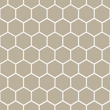 Classic Honeycomb Hexagon Geometric Vector Repeated Seamless Pattern, in Neutral Beige / Taupe. Perfect for Weddings, Fabric / Textiles, Decor, Scrapbooking, Wallpaper and Backgrounds