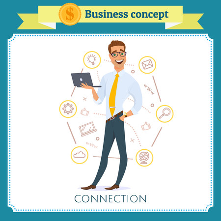 Concept business or connection with a group of people. Social communication with gadgets using.Modern, smiling and successfully businessman with laptop. Flat cartoon style. Isolated on white background.