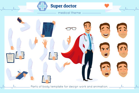 Set of super doctor presenting in various action.Pupil character for your scenes.Parts of body template for design work and animation.Face and body elements.Isolated on white background.Flat style.
