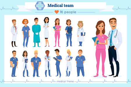 Set of group doctors, nurses and medical staff people, isolated on white.Different nationalities.Flat style.Hospital medical team concept.People character set in various poses. Medico, physician, medic
