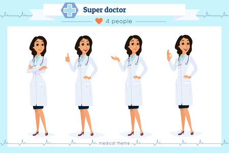 Set of smart doctor presenting in various actions, isolated on white.Flat cartoon style.Hospital medical team.People character set in various poses.woman, female, she.Nurses, medico, doc, physician, medic Illustration