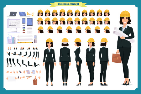 Woman architect in business suit and protective helmet.  Cartoon flat-style infographic illustration Stock Illustratie