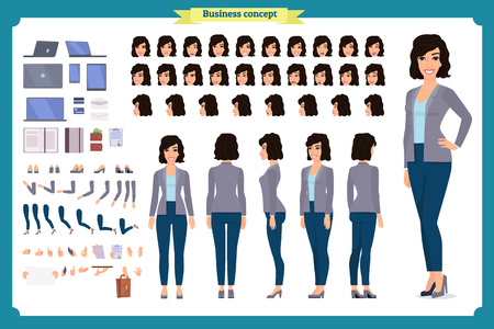 Young woman, casual clothes. Full length, different views, emotions, gestures, isolated against white background. Cartoon flat-style vector illustration