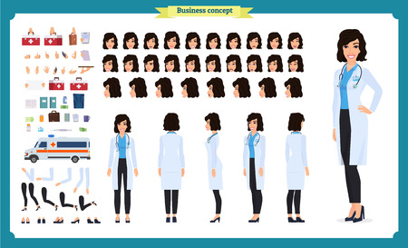 Female doctor character creation set.Front, side, back view animated character. Doctor character creation set with various views, face emotions, poses and gestures. Cartoon style, flat vector illustration.Isolated on white.