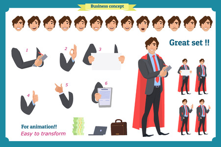 Businessman character. poses,full body, different views, emotions, body elements.Isolated vector on white.Man in business suit.Flat for animation.Business people. Man character