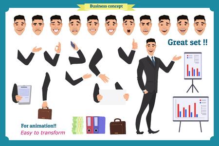 Satz des Geschäftsmannes darstellend in der verschiedenen Aktion Glückliche junge Schwarzafrikanermänner im Anzug Leutecharakter. Gesicht, Körperelemente für Design, Animationsarbeit. Lokalisierter Vektor auf Weiß. Eben