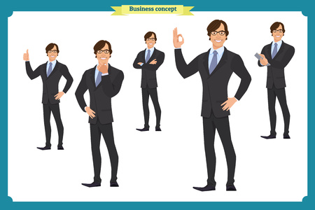 Set of business man presenting in various action.Happy young black African men in business suit.People character. Face,body elements for design, animation work.Isolated vector on white. Flat
