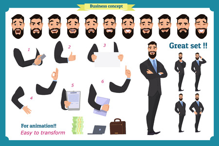 Set of business man presenting in various action. Happy young black African men in business suit. People character. Face, body elements for design, animation work. Isolated vector on white.