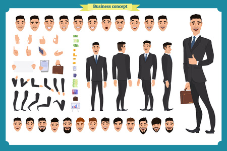 Front, side, back view animated character. Manager character creation set with various views, hairstyles, face emotions, poses and gestures. Cartoon style, flat vector illustration.People character Illusztráció
