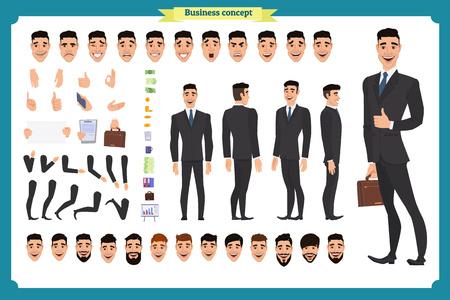 Personaggio animato con vista frontale, laterale e posteriore. Set per la creazione del personaggio del manager con vari punti di vista, acconciature, emozioni del viso, pose e gesti. Stile cartone animato, illustrazione vettoriale piatto Carattere di persone