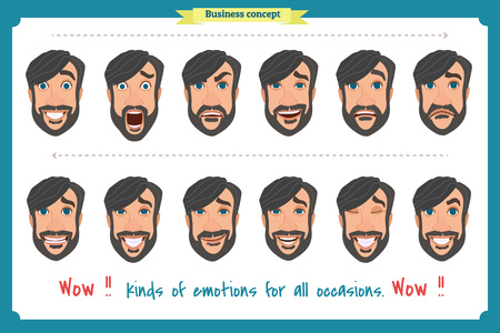 Set of male facial emotions. young man emoji character with different expressions. Vector illustration in cartoon style. People's faces, man, boy, person, user. Male characters. Illustration