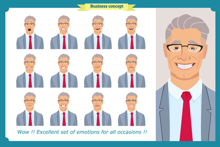 Set of male facial emotions. Young business man character with different expressions.Vector flat illustration in cartoon style.Peoples faces, men, person. Male characters.businessman. For animation