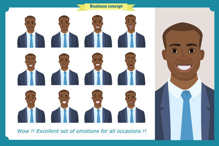 Set of male facial emotions.Black American business man character with different expressions.Vector illustration in cartoon style.Peoples faces, men, person. Male characters. For animation Çizim