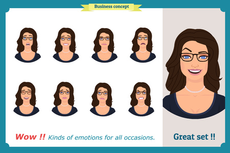 Set of woman expression isolated.Young housewife emotion portraits.Isolated on white.Cute blonde emotional female head illustration. vector face girl, angry, cry, sad, smiling.Businesswoman character