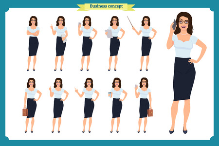 Set of  Businesswoman character design with different poses. Illustration isolated vector on white  in flat cartoon style.Woman in office clothes. Business people Illustration