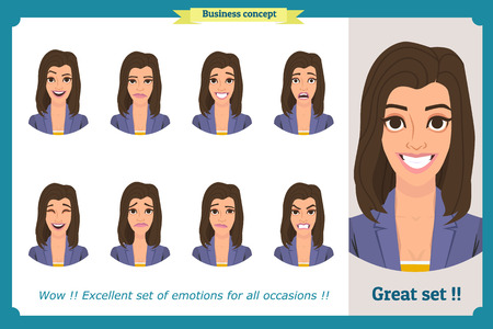 Set of woman expressions