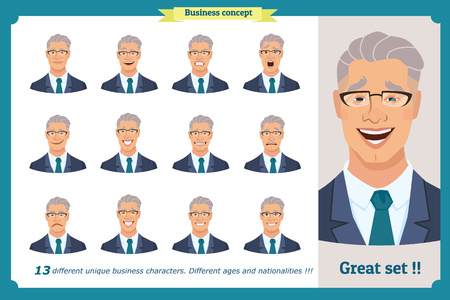 Set of male facial emotions.Face expressions of a man. Flat cartoon character. Businessman in a suit and tie. Young smiling business people in round icons. Isolated vector on white.Set of avatars