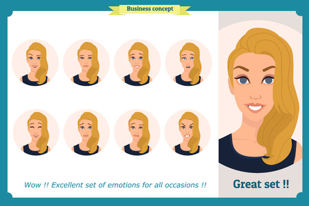 Set of woman expression isolated. Young housewife emotion portraits. Isolated on white. Cute blonde emotional female head illustration.