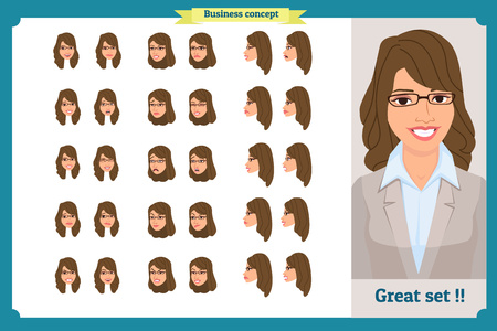 Set of woman's emotions design. Facial expression. Girl Avatar.Front, side, profile view animated character. Vector illustration of a cartoon style.Business girl character creation set. Face