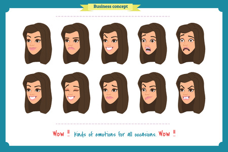 Set of woman expression isolated.Young housewife emotion portraits.Isolated on white.Cute woman emotional female head illustration. vector face girl, sad, smiling.Businesswoman character.Girl Avatar