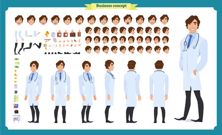Front, side, back view animated character. Doctor character creation set with various views, face emotions, hairstyles, poses and gestures. Cartoon style, flat vector Isolated on white.Male dentists Иллюстрация
